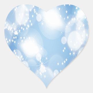 Light Blue Abstract Art Heart Stickers