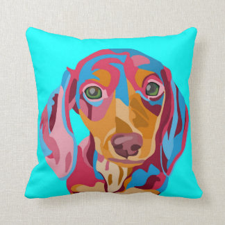 Light Blue Abstract Dachshund Cushion