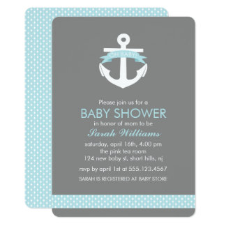 Light Blue Anchor Nautical Boy Baby Shower 13 Cm X 18 Cm Invitation Card