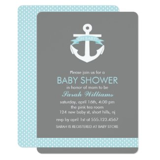 Light Blue Anchor Nautical Boy Baby Shower