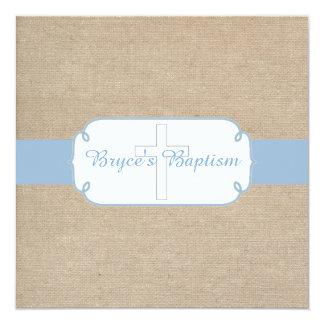 Light Blue and Beige Burlap Baptism Invitation