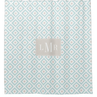 Light Blue and Beige Geometric Monogram Shower Curtain