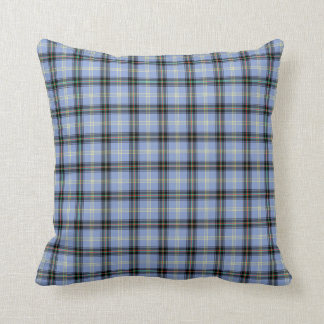 Light Blue and Black Bell Clan Scottish Plaid Cushion