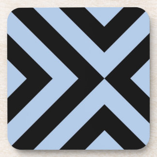Light Blue and Black Chevrons Drink Coasters