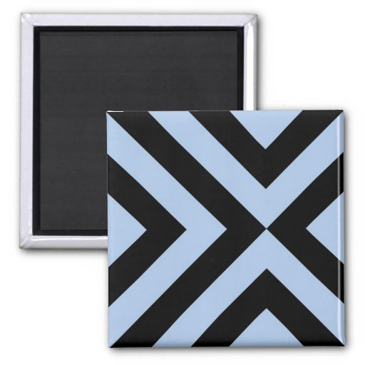 Light Blue and Black Chevrons Refrigerator Magnet