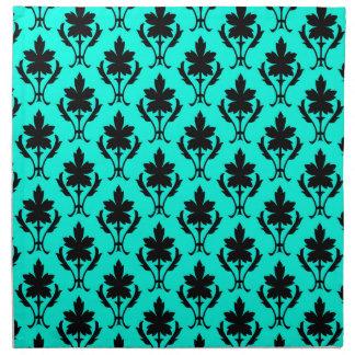 Light Blue And Black Ornate Wallpaper Pattern Napkin