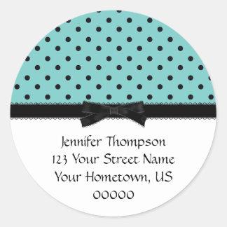 Light Blue and Black Polka Dot Address Stickers