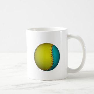 Light Blue and Bright Yellow Softball Basic White Mug