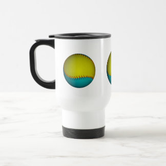 Light Blue and Bright Yellow Softball Stainless Steel Travel Mug