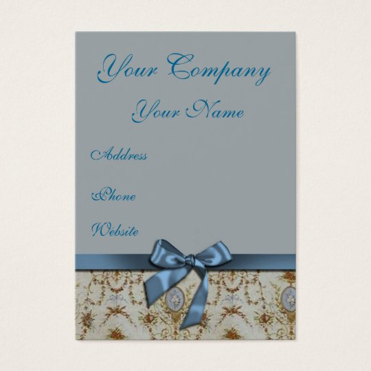 Light Blue and Cream Damask  Business Card