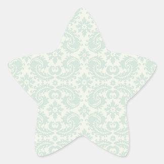 light blue and cream lovely damask star sticker