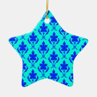 Light Blue And Dark Blue Ornate Wallpaper Pattern Christmas Ornament