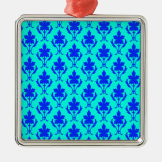 Light Blue And Dark Blue Ornate Wallpaper Pattern Christmas Ornament