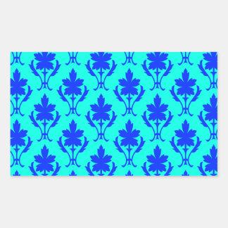 Light Blue And Dark Blue Ornate Wallpaper Pattern Rectangular Sticker