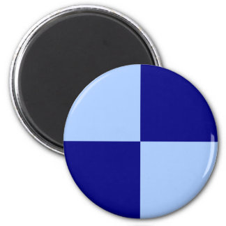 Light Blue and Dark Blue Rectangles 6 Cm Round Magnet