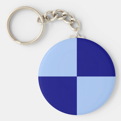 Light Blue and Dark Blue Rectangles Keychains
