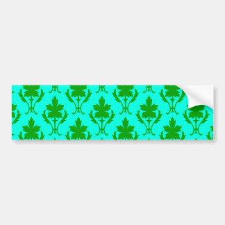 Light Blue And Dark Green Ornate Wallpaper Pattern Bumper Sticker