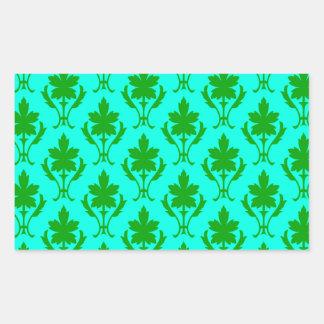 Light Blue And Dark Green Ornate Wallpaper Pattern Rectangular Sticker