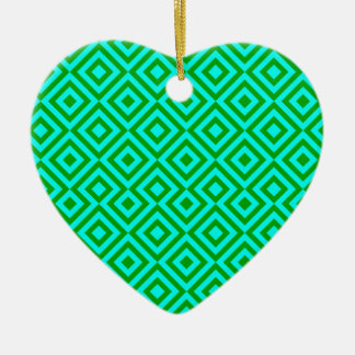 Light Blue And Dark Green Square 001 Pattern Ceramic Heart Decoration
