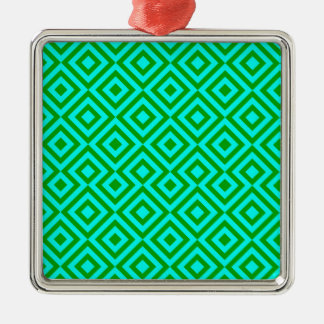 Light Blue And Dark Green Square 001 Pattern Christmas Ornament