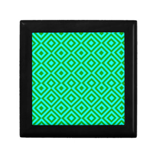 Light Blue And Dark Green Square 001 Pattern Small Square Gift Box