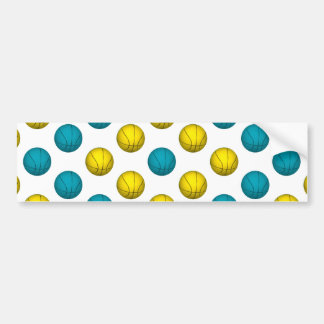 Light Blue and Gold Basketball Pattern Bumper Sticker