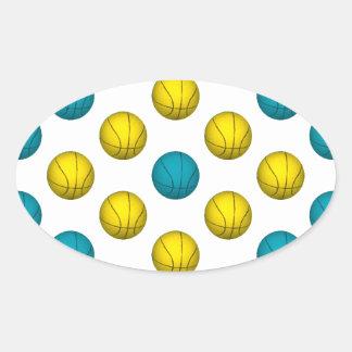 Light Blue and Gold Basketball Pattern Oval Sticker