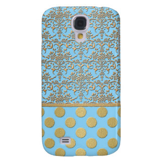 Light Blue and Gold Damask and Polka Dots Galaxy S4 Case