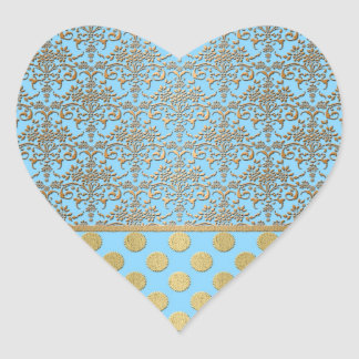 Light Blue and Gold Damask and Polka Dots Sticker