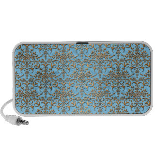 Light Blue and Gold Fancy Damask Pattern PC Speakers
