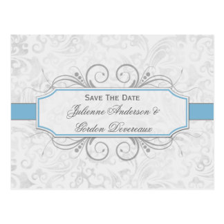 Light Blue and Gray Damask Save The Date Postcard