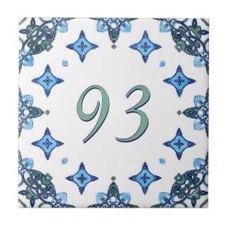 Light Blue and Green Big House Number Small Square Tile