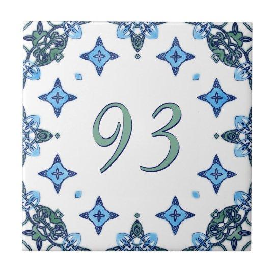 Light Blue and Green Big House Number Tile