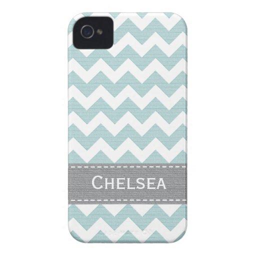 Light Blue and Grey Chevron BlackBerry Bold Case M