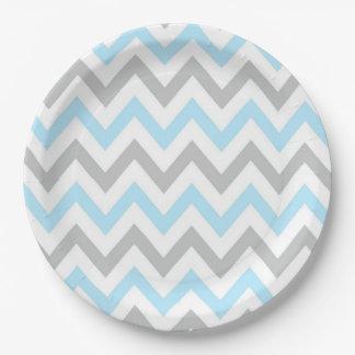 Light Blue and Grey Chevron - Modern, Boy 9 Inch Paper Plate