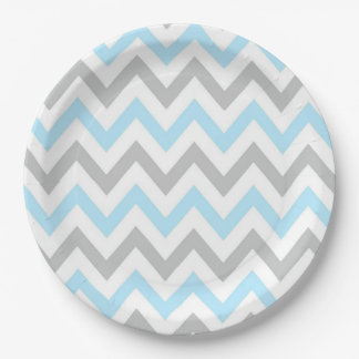 Light Blue and Grey Chevron - Modern, Boy Paper Plate