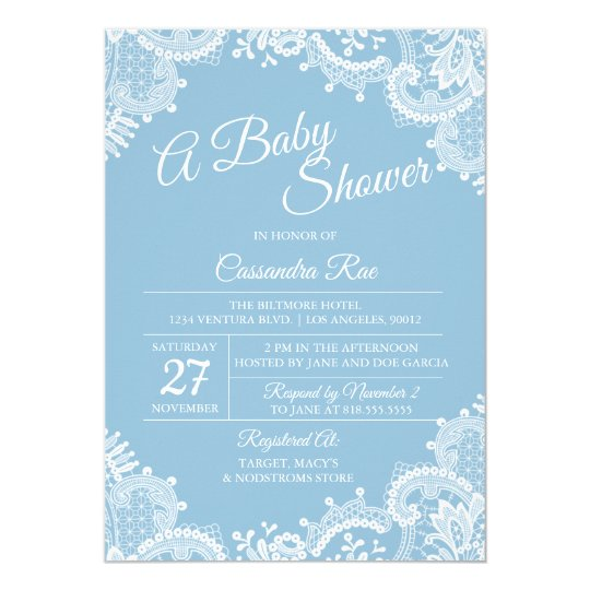 Light Blue and Lace Baby Shower Invitation