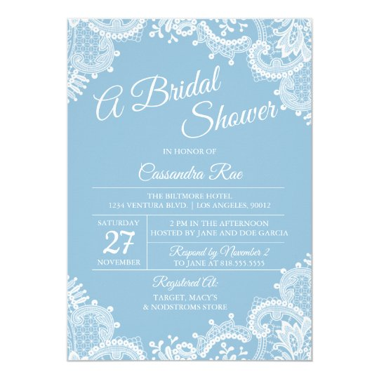 Light Blue and Lace Bridal Shower Invitation
