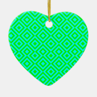 Light Blue And Light Green Square 001 Pattern Ceramic Heart Decoration