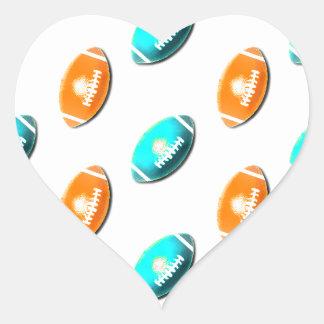 Light Blue and Orange Football Pattern Sticker