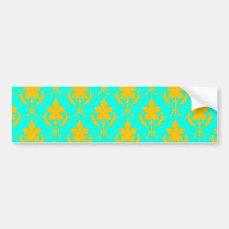 Light Blue And Orange Ornate Wallpaper Pattern Bumper Sticker