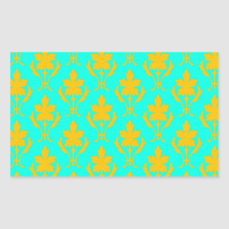 Light Blue And Orange Ornate Wallpaper Pattern Rectangular Sticker