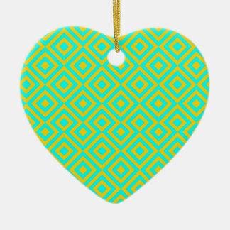 Light Blue And Orange Square 001 Pattern Ceramic Heart Decoration