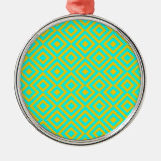 Light Blue And Orange Square 001 Pattern Christmas Ornament