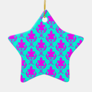 Light Blue And Pink Ornate Wallpaper Pattern Christmas Ornament