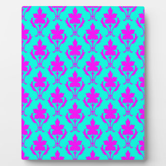Light Blue And Pink Ornate Wallpaper Pattern Plaque