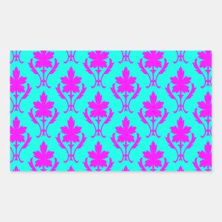 Light Blue And Pink Ornate Wallpaper Pattern Rectangular Sticker