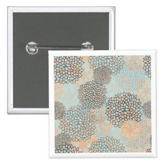 Light Blue and Tan Flower Burst Design 15 Cm Square Badge