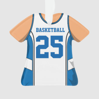 Light Blue and White Basketball Ornament