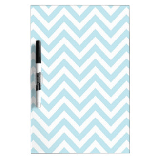 Light Blue and White Chevron Stripe Pattern Dry Erase Board